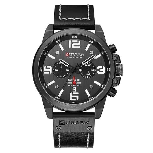 CURREN Reloj de Pulsera para Hombre, Resistente al Agua, Calendario Completo, Correa de
