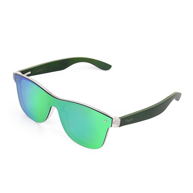 4e085492f1 Mauka - anteojos de sol reflectantes con espejo de una pieza (madera verde)