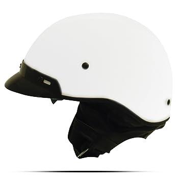 Zoan ruta 66 blanco Dot Cruiser Casco de motocicleta mitad w/parasol de tamaño mediano