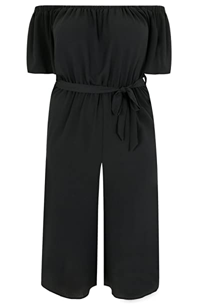 f641eb92edd Yours Women s Plus Size Limited Collection Bardot Culotte Jumpsuit with  Waist Tie Size 16 Black