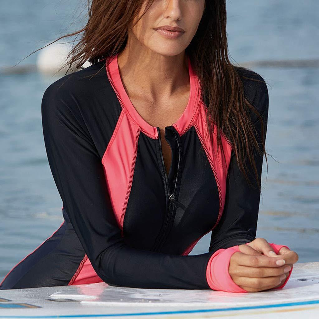 Women Striped Long Sleeve Rash Guard UV Sun Protection Zip Front Swimsuit Surfing Shirt