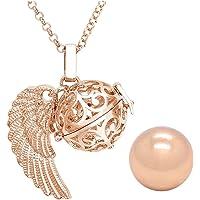 Jovivi Pendentif appeleur d'ange, rose or, cage avec ailes d'ange, médaillon, pendentif, collier, diamètre 16mm boule sonore avec chaîne 80cm
