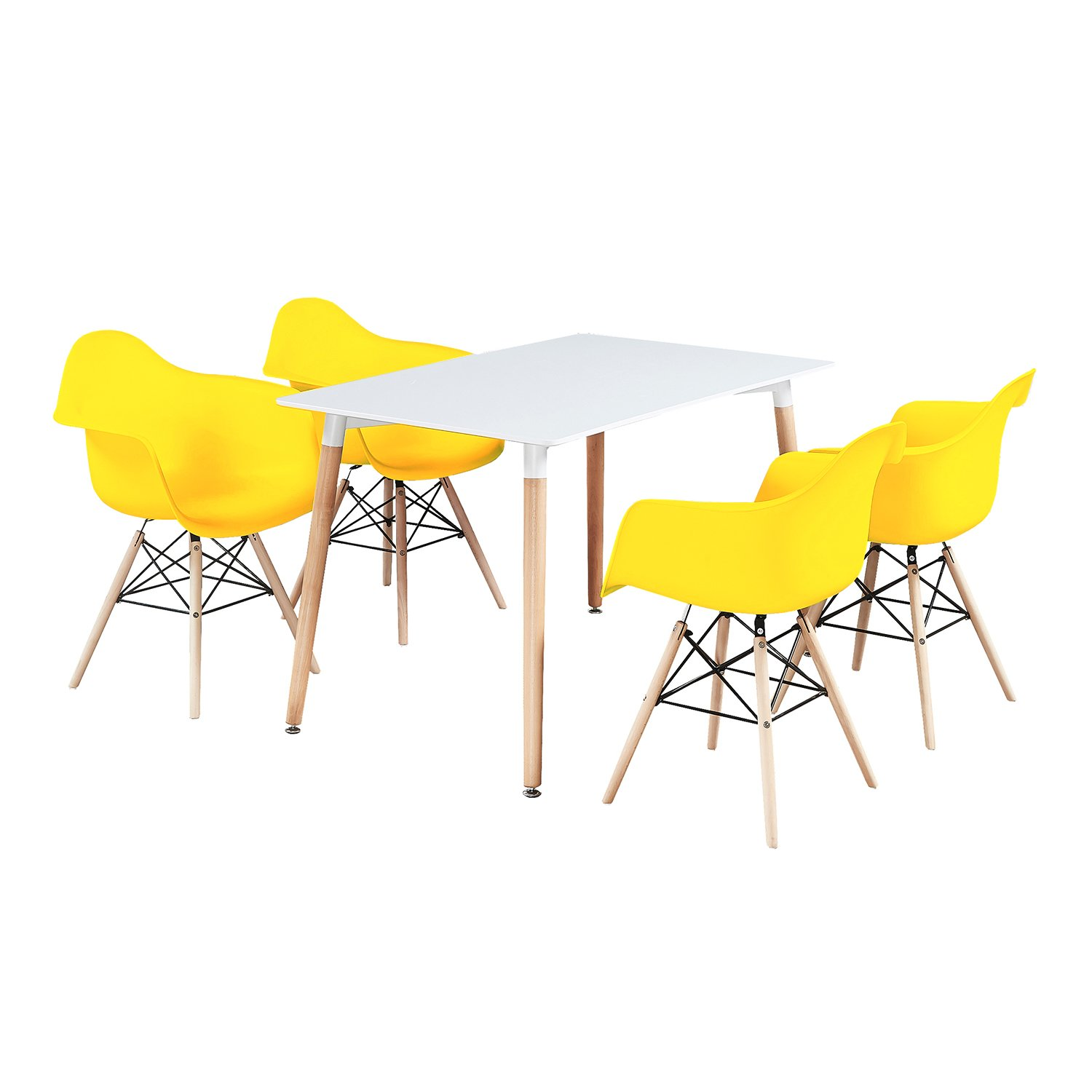 4 Chairs For Dining Room White Chairs Black Table P N Homewares Moda Eiffel Dining Set Dining Room Sets Home Kitchen