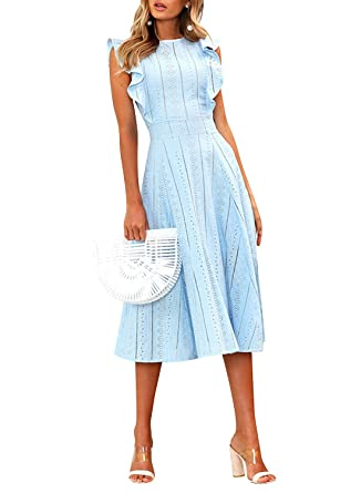51ab13be7c59 REMASIKO Womens Dresses Elegant Cocktail Party Ruffles Summer Boho A-Line  Midi Dress S Blue