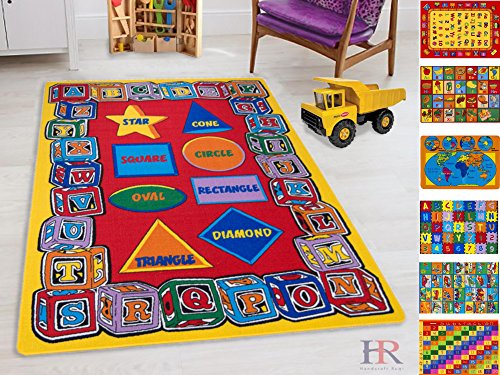 Handcraft Rugs-Kids Rugs Educational Learning ABC (Alphabet) Shapes Rubber Back Non-Slip Educational/Play Time Multi Color Baby Mats
