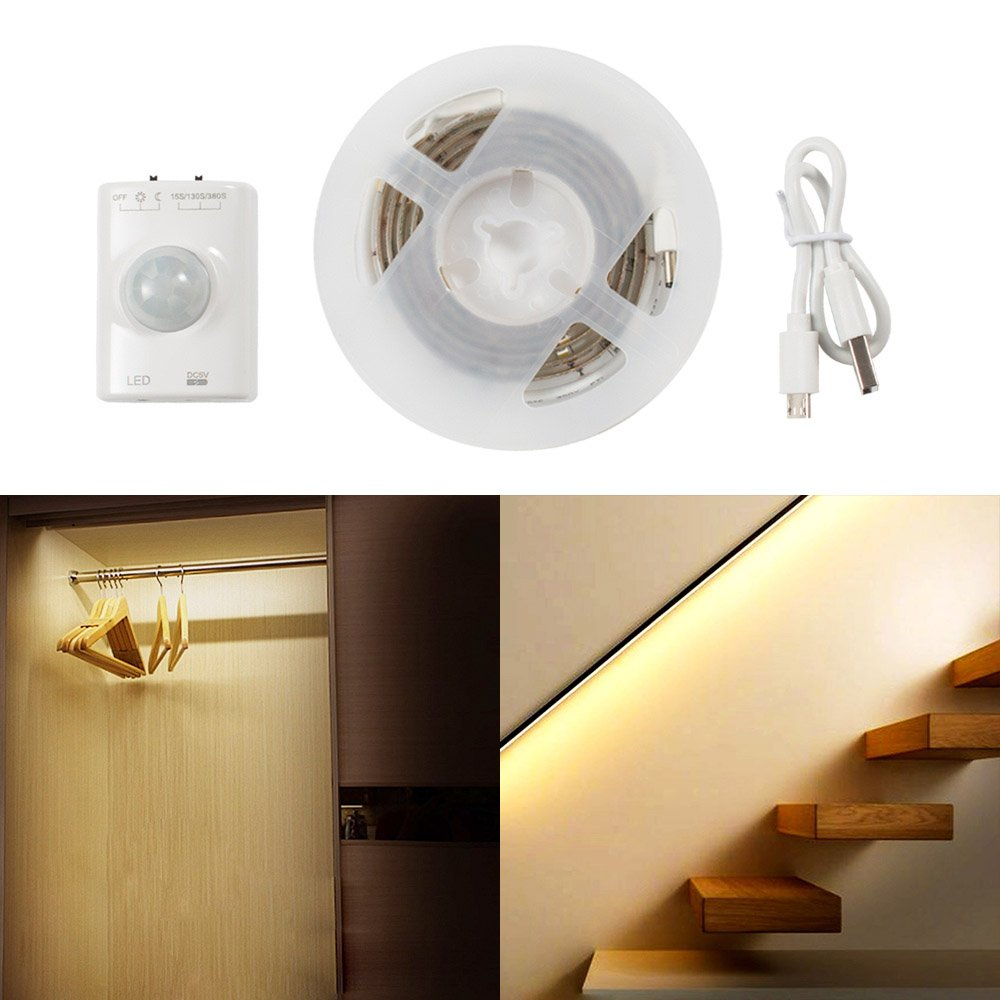 LED Closet Light Battery Powered Rechargeable, Motion Sensor Night Light Strip Stick Anywhere for Closet, Doorway, Stairway, Hallway, Under Counter, 39inch 2.4W, 2700K Warm White