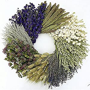 The Wheel. Dried herb, Floral and Grain Fall Wreath- Great Gardening Lover Gift! 19 Inch, Hand Made in The USA. Round Wreath, Wreath for The Front Door Home Décor. 73
