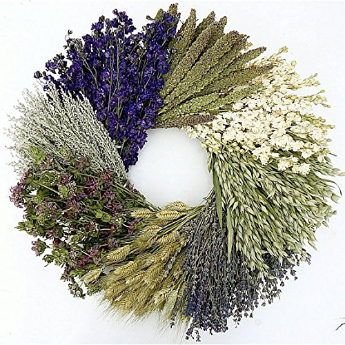 The Wheel. Dried herb, Floral and Grain Fall Wreath- Great Gardening Lover Gift! 19 Inch, Hand Made in The USA. Round Wreath, Wreath for The Front Door Home Décor. (Dried Floral Wreath)