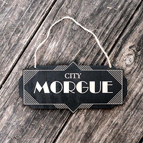 City Morgue - Black Halloween Door Sign -