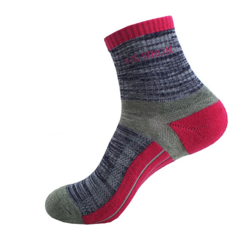 BOLANY Men Women Cushion Knit Ankle Non Slip Cotton Ribbed Cuff Striped Socks