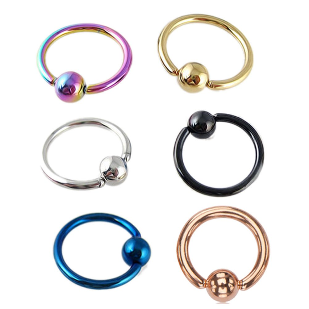 Lots of 12pcs 16g 5/16'' Surgical Steel Captive Bead Rings Body Piercing Jewelry