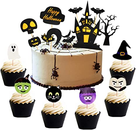 Cool Amazon Com Set Of 38 Halloween Cake Topper Haunted House Cake Personalised Birthday Cards Epsylily Jamesorg