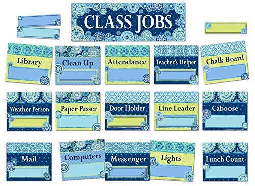 Eureka Blue Harmony Classroom Jobs Bulletin Board Set, 44 pcs