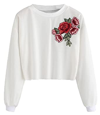1151e5fc0e23 Witkeyseller Women Pullover T-Shirts Rose Embroidery Crop Tops Sweatshirts  Off-White L  Amazon.co.uk  Clothing