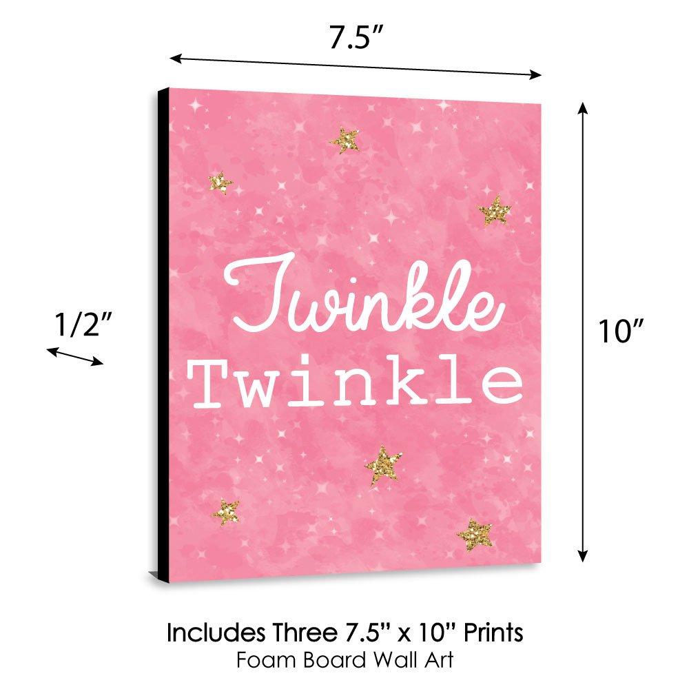 """Baby Girl Nursery Wall Art /& Kids Room Decor Pink Twinkle Twinkle Little Star Set of 3 Prints 7.5/"""" x 10/"""""""