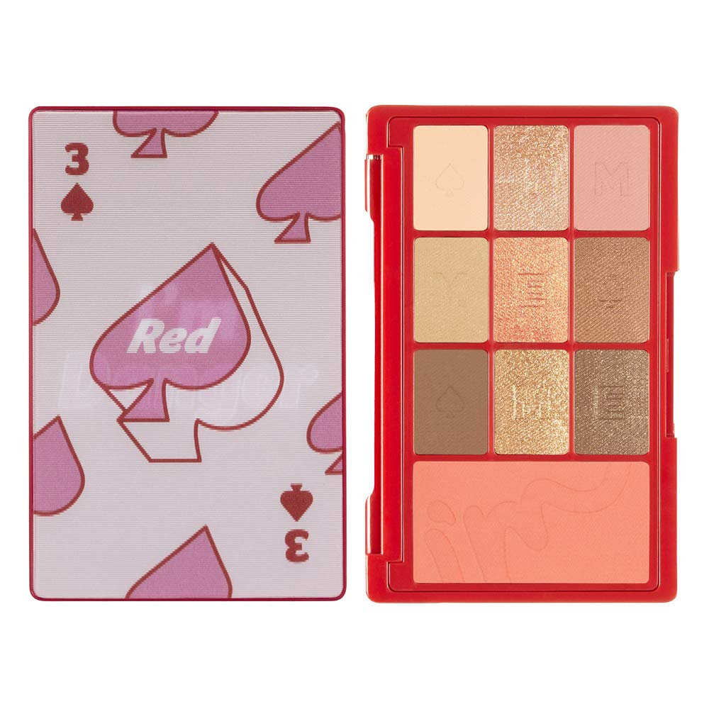 I'M MEME I'M Hidden Card Palette | Portable-sized 9 Colors Eyeshadow and 1 Blush Palette with Mirror | 003 Red | K-Beauty
