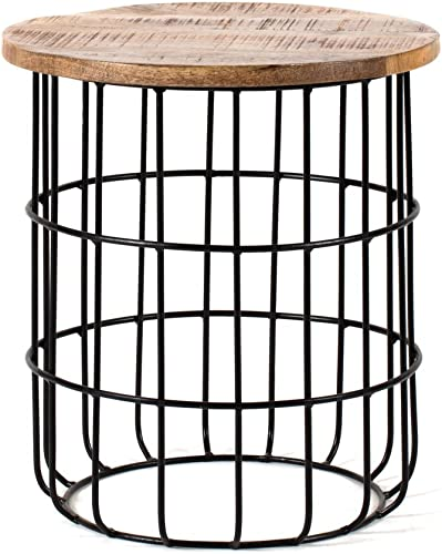 MH London Side Table I Handmade Metal Frame Solid Mango Wood, Naturally Moisture Resistant, Maintenance Free I Accent Table, Nightstand I 17.8 x 15.75 x 15.75 I Auxon, Black