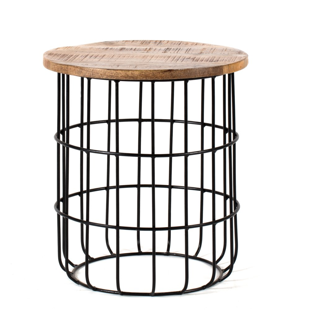 Auxon Natural Mango Wood Living Room Cage Side Table | Designer Caged End Table Living Room/Bedroom | Modern Side Table for Living Room/Bedroom Madeleine Home