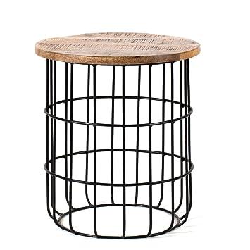 Auxon Natural Mango Wood Living Room Cage Side Table Designer
