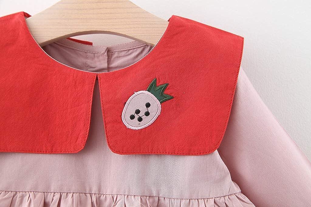 squarex Toddler Kids Baby Girls Strap Striped Dress Sleeveless Princess Clothes Baby Girls Dress O-Neck Valentine Newborn Baby Short Sleeve