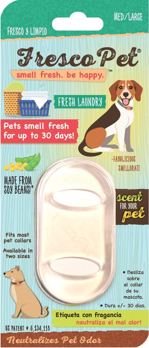 FrescoPet #1 Pet Odor Eliminator, Scented Collar Tags, Miracle 24/7 Odor Neutralizer, 3-Pack Fresh Laundry - Fresh Air Scent Fresco Pet Dog Perfume - MED/Large