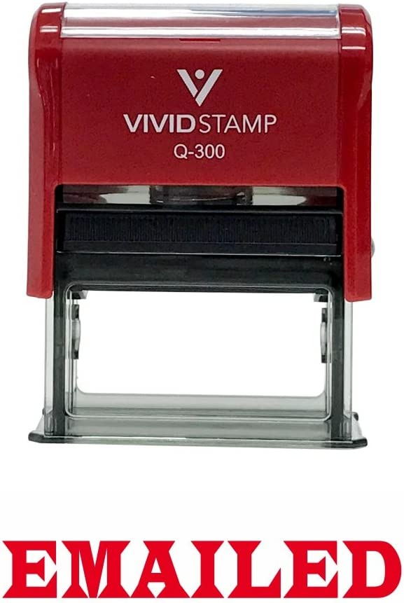 EMAILED Office Self-Inking Office Rubber Stamp (Red) - Large