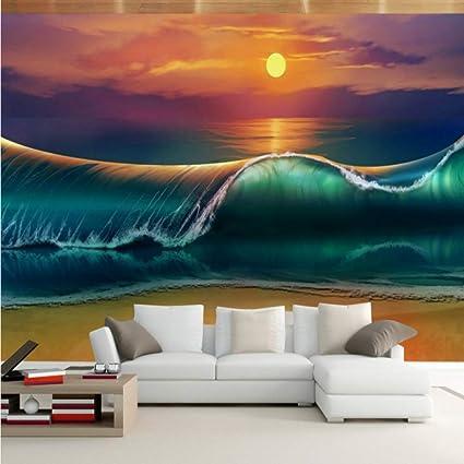 Amazoncom Amazhen Photo Wallpaper 3d Ocean View Sea Waves
