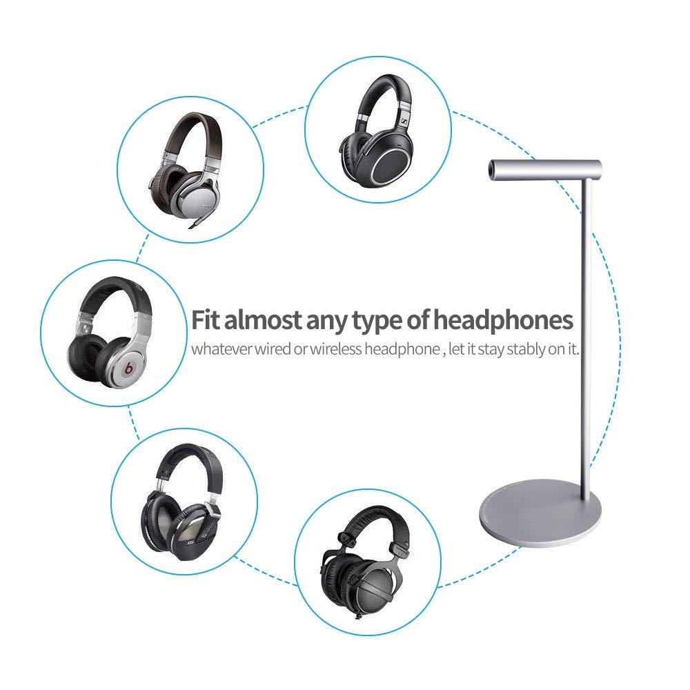 Aluminum Headphone Stand Gaming Headset Holder Vaydeer Universal Metal Desk Earphone Hanger Mount Storage Table Display Rack Support for All Headphone Sizes Silver