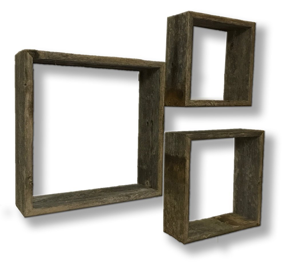 Amazoncom Decorative Wooden Wall Shelves Barnwood Open Box