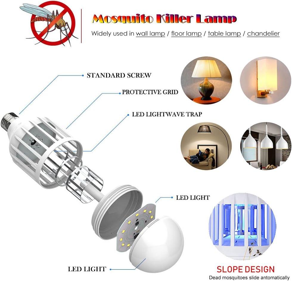 UV Asesino de Insectos El/éctrico Port/átil 2 en 1 L/ámpara de Asesino del Larvas Mosquito Noche L/ámpara LED para Interior y Exterior Camping Queta L/ámpara Antimosquitos USB Recargable