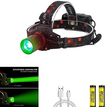 Camping LED-Stirnlampe gr/ünes Licht 800 Lumen Scheinwerfer Kopf Licht Wasserdicht Bequem und leicht f/ür Laufen Batterien im Lieferumfang enthalten Wandern,Walking