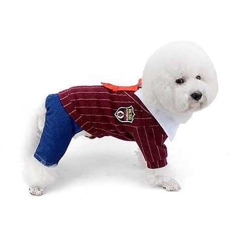 Zunea - Abrigo de invierno para perros pequeños, forro polar, preppy, corbata roja