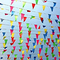 200 Pcs Nylon Fabric Pennant Flags for Grand Opening,Party Festivals Decorations 1 TSMD 250 Ft Multicolor Pennant Banners String Flag Banner