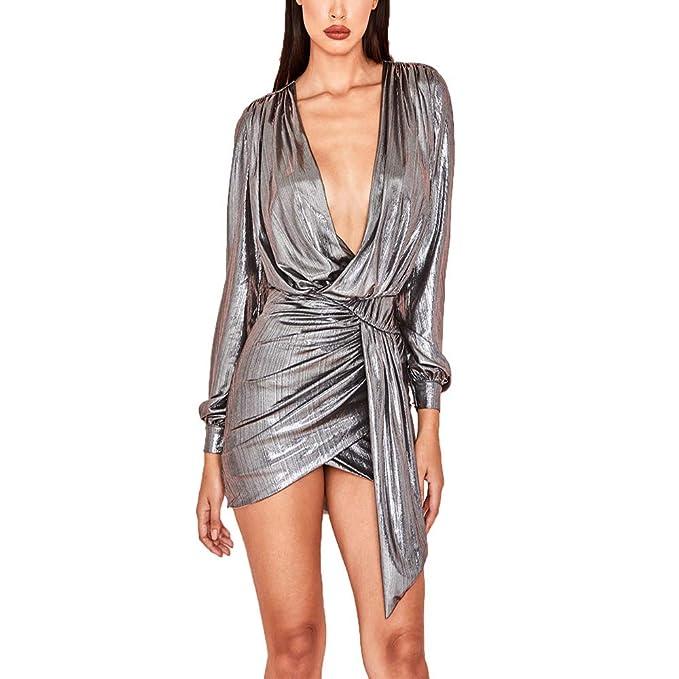 8b7270e2f6326 Women's Sexy Sequins Deep V Neck Long Sleeve Side Split Bodycon Mini Dress