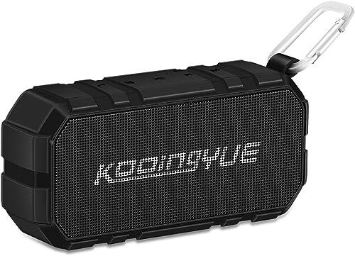 KOOINGYUE Enhanced Bass Stereo Version IPX56 Splash Proof Portable Bluetooth Speaker With Volume Amplifier 10 W Power, 33 Wireless Range Bluetooth 4.0, Custom Bass Radiator Black
