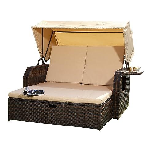 Elegant Rattan Sonnenbett Dach Rattan Braun Strandkorb Sonnenliege  Liegebett Relaxliege With Relaxliege Braun With Rattan Relaxliege