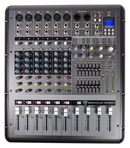 Rockville RPM870 8 Channel 6000w Powered Mixer w/USB, Effects, 8 XDR2 Mic Pres ()