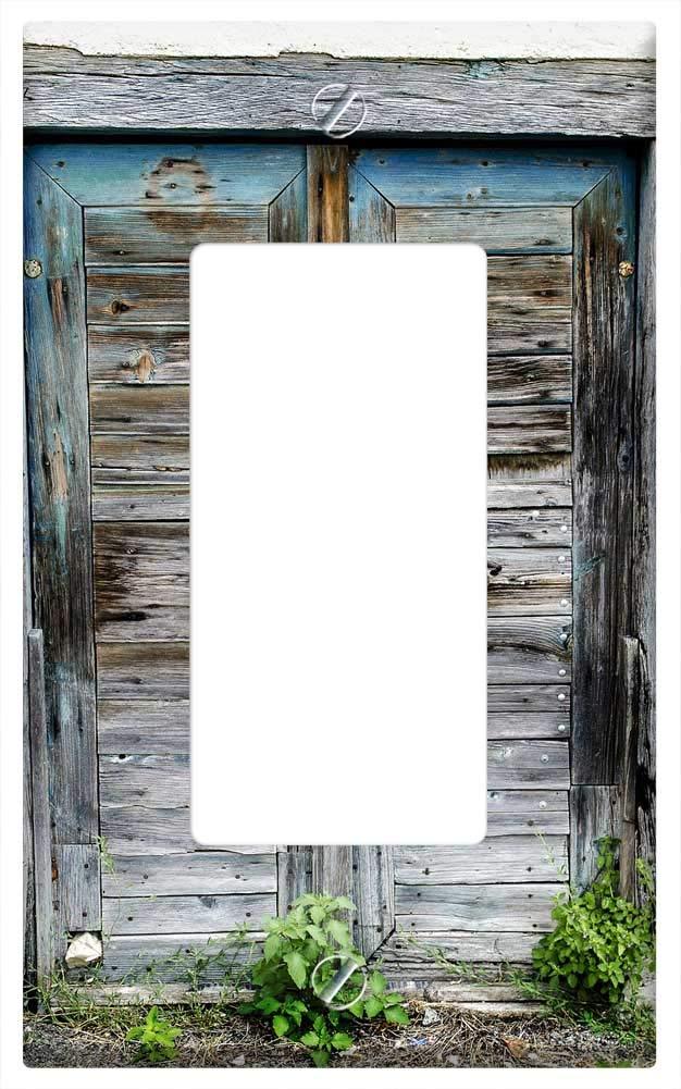 Cubierta para placa de pared - Puerta envejecida jardín ...