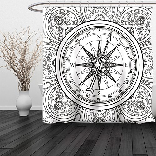 HAIXIA Shower Curtain Compass Hand Drawn Windrose in Line Art Style Nautical Illustration Coloring Book Design Black White