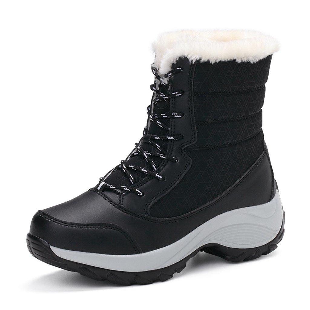 JACKSHIBO Women's Fur Lining Winter Boots Outdoor WaterproofSnow Boots