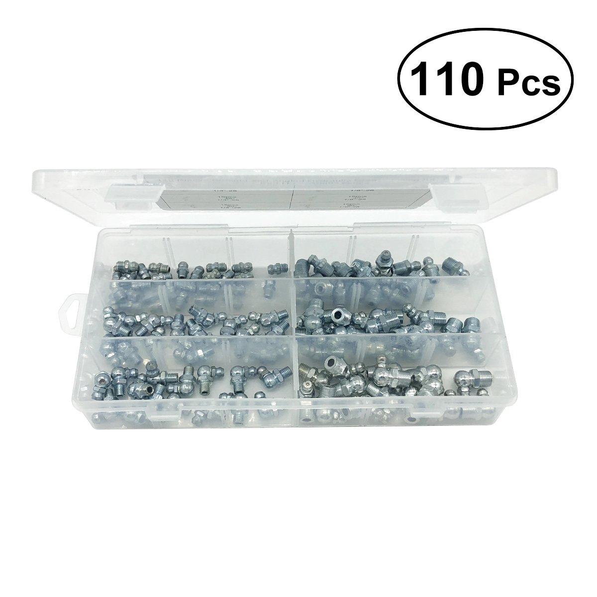 UKCOCO Kit di ingrassaggio idraulico Kit di sostituzione grasso per nipple Assortimento Set 110 in 1 (Argento)