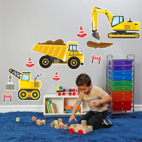 BirthdayExpress Construction Party Decorations - Giant Vinyl Wall Decal -