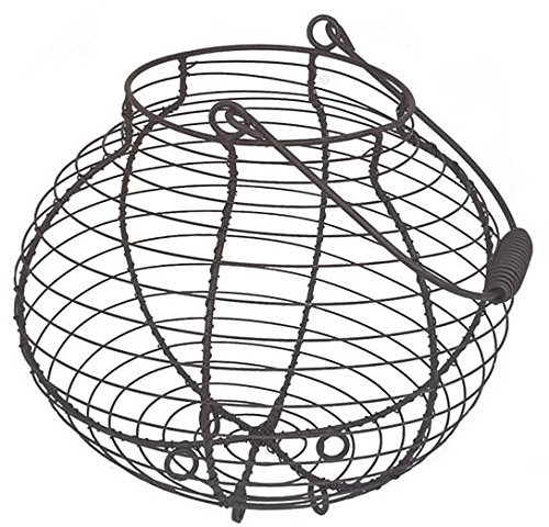 Large Brown Egg Basket French Country Vintage Farmhouse Style Grey Wire Metal Storage Holder Container Homes on Trend