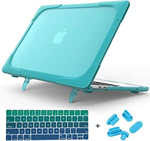 Mektron MacBook Pro 13 Case A2159/A1989/A1706/A1708 (2016-2019 Release), [Heavy Duty] Slim Rubberized [Snap on] [Dual Layer] Hard Case Cover with Fold Kickstand w/Keyboard Cover Dust Plug (Sky Blue)