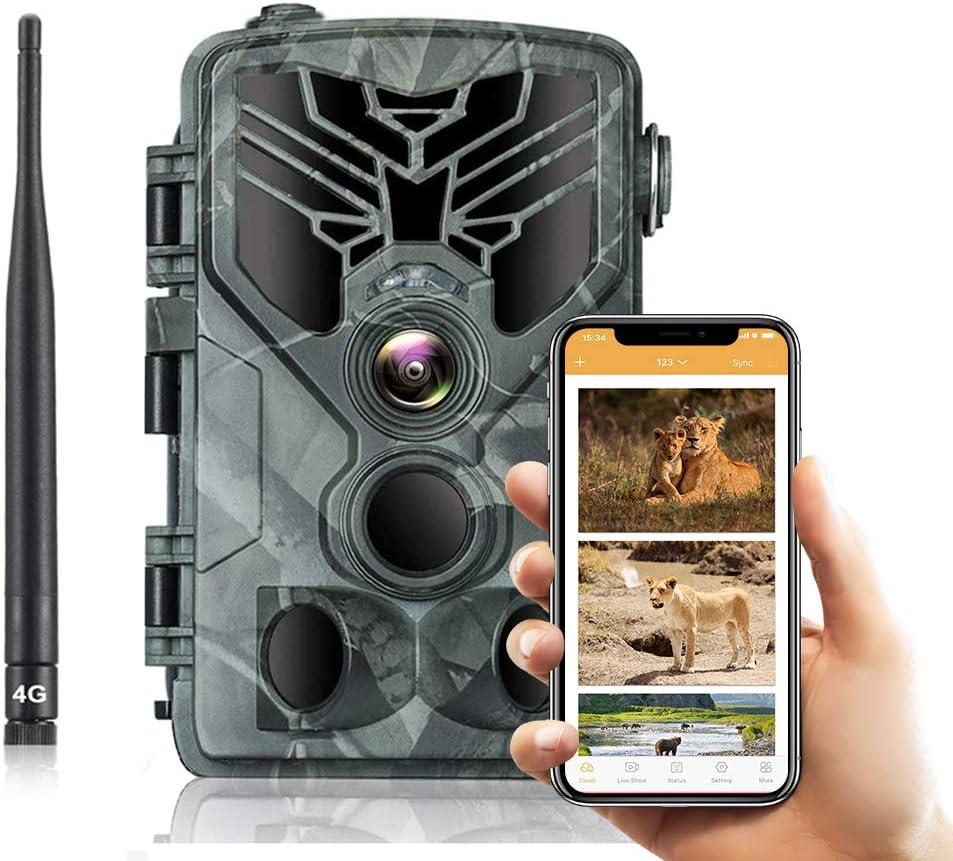 SUNTEKCAM 4G Cámara de Caza Nocturna 20MP 1080P Transmisión de Red Celular con Diseño Impermeable IP66 Cámara de Fototrampeo con Detección de Acción LED IR Sin Brillo para Trail Game Cámara