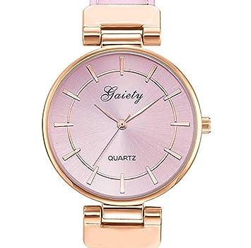 Limpieza de venta! Relojes para mujer, ICHQ Relojes de cuarzo analógicos para mujer, relojes de pulsera para chica de cuero: Amazon.es: Hogar