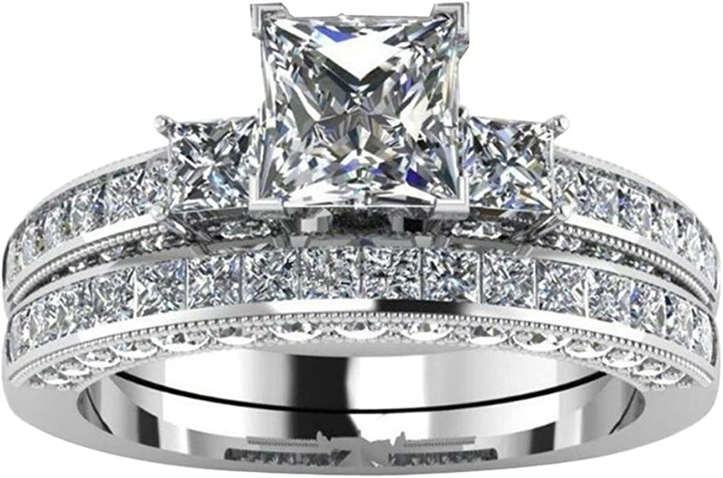 Les couples givré Bagues de fiançailles simple rangée zircon en acier inoxydable Promise Ring