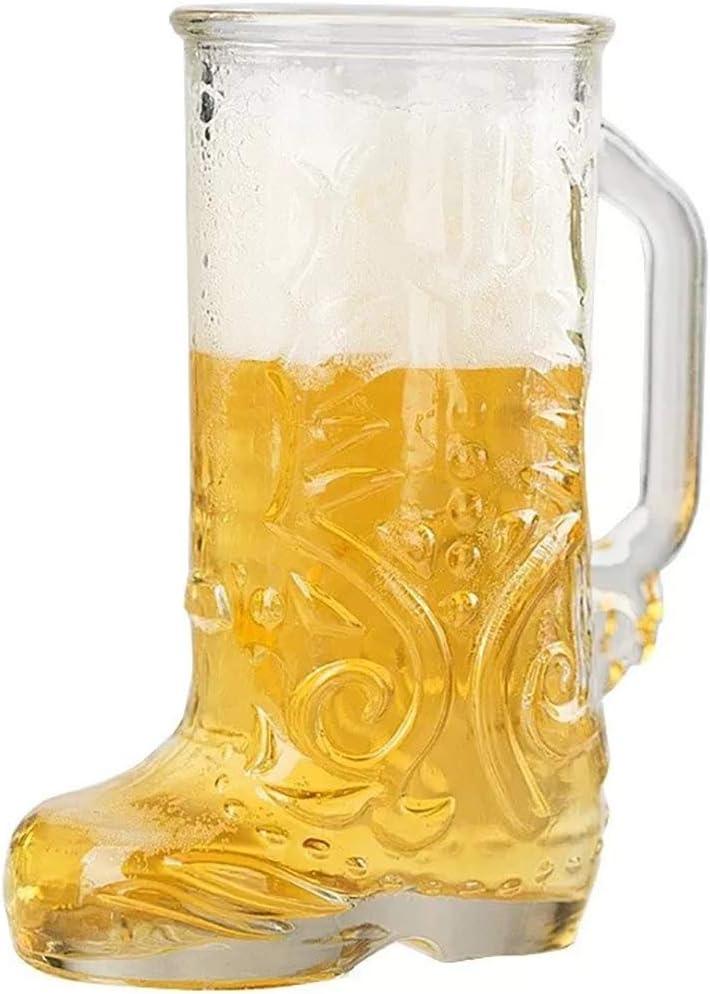 Botas De Cerveza Botas para Beber, Botas De Vidrio De Cerveza con Mango Taditoneller Idea De Regalo De Jarra De Cerveza para Abuelo, Amante De La Cerveza, Regalo De Cumpleaños Y Oktoberfest