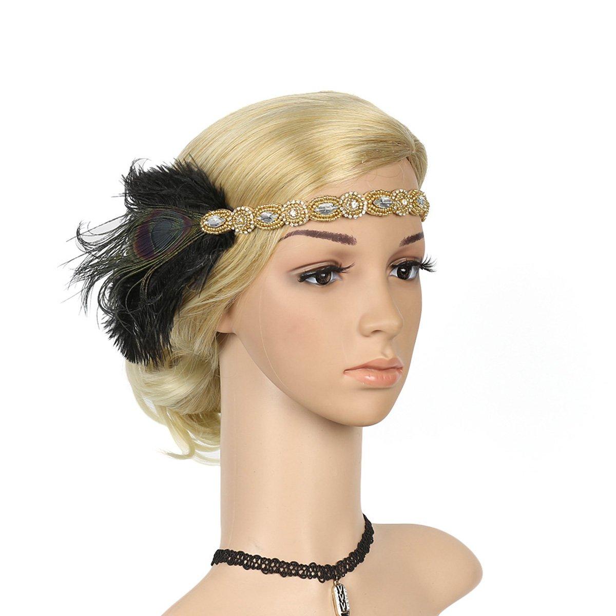 Ssowun Fletion Bandeau Cristal Plume Bandeau Serre-tête Vintage Classique Partie à Thème Headband pour Femme LF-382BW