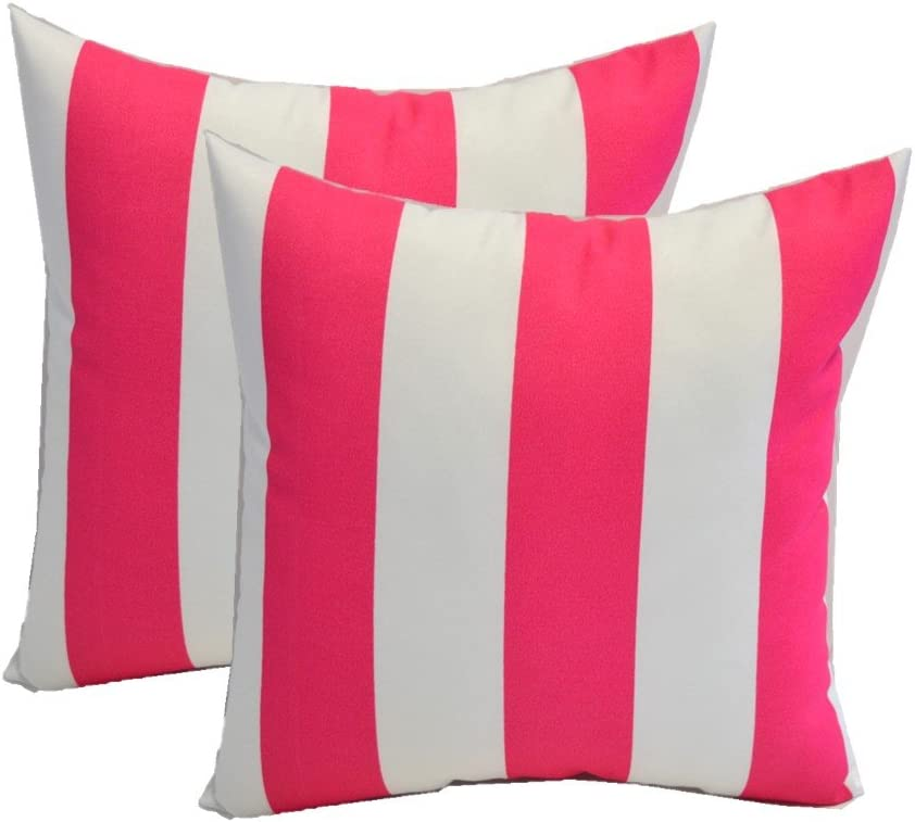Resort Spa Home Decor Set of 2 – Indoor Outdoor Square Decorative Throw Toss Pillows – Preppy Hot Pink and White Stripe – Choose Size 17